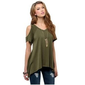 Women's Shoulder Off Wide Hem Design Top Shirt